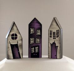 Little Wooden Houses Set by thereignofellen on Etsy
