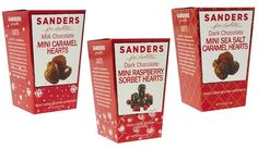 Sanders Mini Valentine Chocolate Boxes are the perfect sweet for you to give yourself or a loved one. Choose from smooth and creamy caramel or decadent raspberry sorbet formed into the shape of a heart, then covered with Sanders rich chocolate. Enjoy Milk Chocolate Caramel Hearts, Dark Chocolate Sea Salt Caramel Hearts or Dark Chocolate Raspberry Sorbet Hearts. Price: $5.99 each