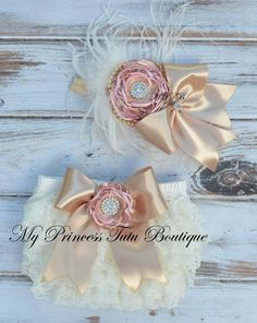 Pink Gold And Ivory Newborn Bloomers Pink by MyPrincessTutuBoutiq