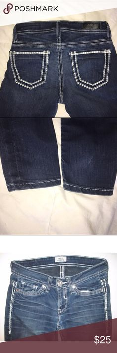 """DAYTRIP Vela Jegging Big Stitch Crystal Studs EUC DAYTRIP *Vela Jegging* Thick Stitch Crystal Studs Low Rise Sz 26 x 33 in 'Like New', Excellent Used Condition! Style:  5-pocket Fabric:  81% cotton, 17% polyester, 2% Spandex Wash:  Dark Rise:  Low to mid – 7-1/2"""" Fit/leg:  Jegging Tagged size:  26L Across the waist:  14"""" Rise:  7-1/2"""" Inseam:  33"""" Leg Opening:  5""""  Condition:  Excellent pre-owned condition... no signs of wear! Daytrip Jeans Skinny"""