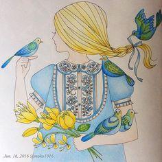 Instagram media moko1016 - 2016/06/16 4月に塗った見開き左ページ 記録用  #コロリアージュ#塗り絵#ぬり絵#ぬりえ#油性色鉛筆#森のちいさな女の子#大人の塗り絵#coloriage #coloringforadults #pericia#adultcoloring #coloringbook