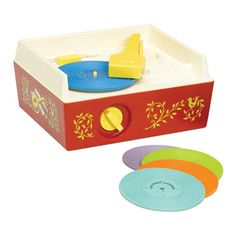 Fisher Price Toy Record Player  - Record Songs:    Humpty Dumpty , Jack and Jill  Twinkle Twinkle Little Star,  The Farmer in the Dell , Oh Where, Has My Little Dog Gone?  London Bridge,  Camptown Races,  Children's Marching Song,  Hickory Dickory Dock,  Au Clair De La Lune