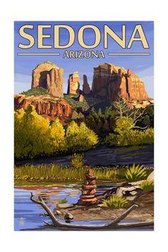 Sedona, Arizona - Cathedral Rock and Cairn-Lantern Press-Art Print Sedona Arizona, Kingman Arizona, Modern Photography, Vintage Travel Posters, Poster Vintage, Vintage Signs, Antique Maps, Rock Art, Cathedral