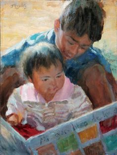 Charming Paintings By Eric Wallis Kids Reading Books, Reading Art, Love Reading, Wallis, Book Reader, Woman Painting, Famous Artists, Beautiful Paintings, Love Book
