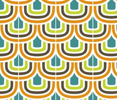 Retro Curves Multicolour fabric by jemimalovesbigted on Spoonflower - custom fabric