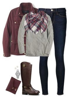 """Blanket scarf, stripes & burgundy"" by steffiestaffie ❤ liked on Polyvore featuring moda, J.Crew, Frame Denim, Apt. 9, Tory Burch, Henri Bendel i Marc by Marc Jacobs"