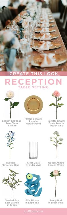 CREATE THIS WEDDING RECEPTION TABLE SETTING! Featuring silk Roses, Tweedia, Peonies, Bay Leaves, and Queen Anne's Lace, this wedding decor is perfect for that budget bride and crafter. Find a huge variety of premium artificial wedding flowers in white, blush, peach, pink, blue, light teal, gold, and green at Afloral.com for your DIY wedding bouquet and floral arrangements.