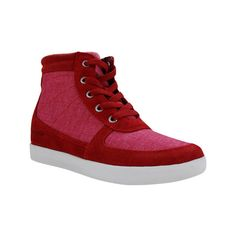 Women's Burnetie Amanda High Top Wedge Sneaker - Red Textile/Leather... ($85) ❤ liked on Polyvore featuring shoes, sneakers, casual, casual shoes, hidden wedge sneakers, leather sneakers, red high top sneakers, lace up sneakers and studded lace-up wedge sneakers