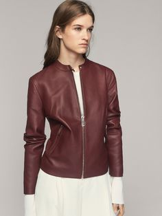 fbde2d4ba08a LEATHER JACKET WITH SNAP DETAIL - Women - Massimo Dutti