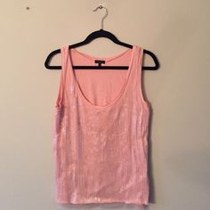 J crew sequin front solid pink tank top Excellent condition worn one time J crew sequin front solid pink tank top. Great for the holidays!! J. Crew Tops Tank Tops