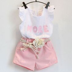 Summer Set Clothes Baby Girl Kids Outfit White Shirt Short Pink Pant Flower Belt #Unbranded #CasualEverydayHoliday