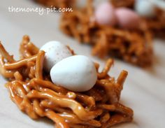 N n Nest~ Salted Caramel Bird's Nest Cookies..use chowmein noodles and caramels or chocolate chips or butterscotch chips etc..add eggs. Or just do some other cookie or cookie dough and add coconut maybe and eggs (pb balls, no bake, peanutbutter oatmeal, coconut macaroons, gingersnaps etc)