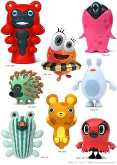 Hiroshi Yoshii is a digital pioneer, creating quirky characters and sculptures for major TV programs, commercials, corporate websites, campaign and events. Simple Character, Game Character, Character Concept, Concept Art, Vinyl Toys, Vinyl Art, Character Design Cartoon, Mascot Design, Cute Monsters