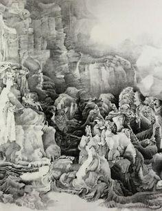 Liu Dan (Chinese, born 1953), Reimagining the Lystra Scene, 2016 (detail). Ink on paper, 118 1/8 × 78 3/4 in.