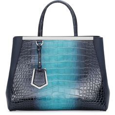 Fendi 2Jours Crocodile Shopping Tote Bag ($28,000) ❤ liked on Polyvore featuring bags, handbags, tote bags, navy, blue tote bag, fendi tote, blue handbags, tote handbags and navy blue purse