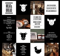 Meat & Bread square grid website design. (Like the grid broken up with text, graphic and photo)