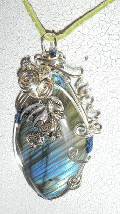 Handmade Dragon Pendant, Dragon, Mythical, Metaphysical, Labradorite by DeanasQuiltsandMore on Etsy