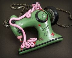 Zombie Sewing Machine Necklace by beatblack on Etsy, $47.00
