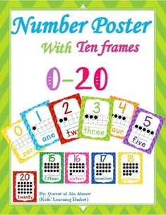 Number Posters with Ten Frames----Bright Chevron: This is a set of number posters. Each poster has the number, the number represented in a ten frame, and the number word. All the pages are set for sized paper. You can adjust your printer Number Posters, Number Words, Page Number, Ten Frames, D 20, Classroom Decor, Classroom Management, Kids Learning, Classroom Organization