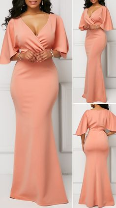 V Neck Pink Half Sleeve Mermaid Dress HOT SALE! cute dresses, beautiful dresses, pretty dresses, c. Pretty Dresses, Sexy Dresses, Evening Dresses, Casual Dresses, Beautiful Dresses, African Lace Dresses, Latest African Fashion Dresses, Pink Mermaid Dress, Dinner Gowns