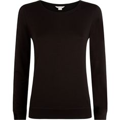 Monsoon Ana Long Sleeve Top ($6) ❤ liked on Polyvore featuring tops, shirts, sweaters, long sleeve shirts, long sleeve tops, black, jersey top, long sleeve jersey top and jersey shirt