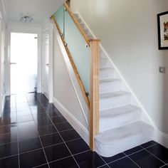 This frosted glass staircase complements this contemporary property beautifully. Featuring Cherwell newel posts this staircase has transformed the hallway. Stair Banister, Timber Staircase, Painted Staircases, House Staircase, Staircase Design, Balustrade Design, Glass Balustrade, Bespoke Staircases, Glass Stairs