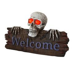 Add a fantastically creepy touch to your Halloween decor with our skeleton welcome sign.