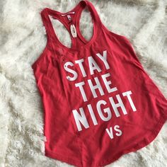 "vs ""stay the night"" razorback tank New with tags. Size small. More of a pink hue than shown in photo. 59% cotton, 41% polyester. ❌no trades or Paypal Quick shipping Offers welcome through ""Make an Offer"" feature. Victoria's Secret Tops Tank Tops"