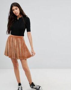 Boohoo Velvet Skater Mini Skirt