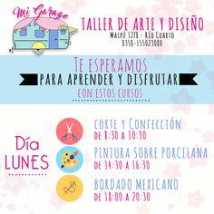 Mi Garage - Taller de Arte y Diseño Nos encontrás en Maipú 1278 - Río Cuarto T.E 0358155023080. #MiGarage #RioCuarto #deco #hogar #cursos #costura #bordado #home #love #taller #arte #diseño