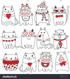 Drawing heart sketches valentines day Ideas for 2019 Valentine Doodle, Valentines Day Drawing, Valentines Day Decorations, Valentine Day Crafts, Valentines Day Cat, Doodle Art, Drawing Heart, Diy Kawaii, Cat Art