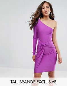 Naanaa Petite One Shoulder Wrap Front Mini Dress - Purple NaaNaa Petite tZv5y