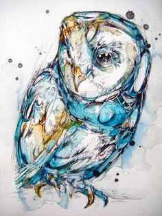 A colorful owl rendered in ink and watercolor.