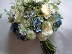 tweedia, hydrangia, and rose bouquet