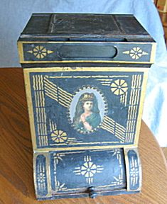 Antique country store tole painted tin cannister for sale at More Than McCoy at http://www.morethanmccoy.com