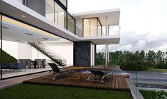 Terraza con Alberca: Casas de estilo moderno por AParquitectos