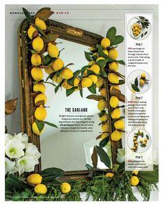 A fresh lemon garland, diy fashion, Southern Living Magazine December 2015