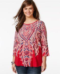 Lucky Brand Jeans Plus Size Paisley-Print Top - Trendy Plus Sizes - Plus Sizes - Macy's