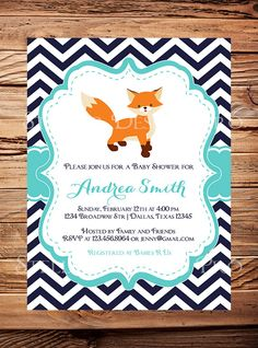 Baby shower Invitation Fox Teal Navy Boy Girl by StellarDesignsPro