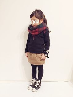 This outfit! The scarf, the corduroy skirt, high top tennis!!! Too cute