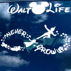 """""""Never grow up"""" vinyl decal Peter Pan and Wendy / infinity"""