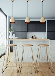 How funky do copper pendant lights look? Copper is a great idea to spruce up a neutral kitchen. can help suggest quirky interior home wares to go effortlessly with your new kitchen! Kitchen Dinning, Kitchen And Bath, New Kitchen, Kitchen Decor, Hidden Kitchen, Copper Kitchen, Scandi Living, Cuisines Design, Deco Design
