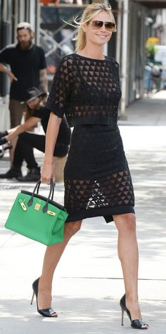 Heidi Klum in black sheer geometric Elizabeth and James separates.