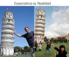 Expectativa vs. realidad. Aunque después de 32894329842 intentos lo conseguimos, fijo. #jajaja #humor #listos #foto #pisa #roma #italia #viaje #volar #avión #expectativa #realidad #maletas #viajes #viajar #empapado #risa #risas #chiste #postureo #interrail #airhopping  #Humor #Chiste #Frases #Quotes #Risa