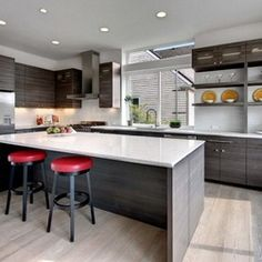 Contemporary Kitchen  with more basic layout and smaller window