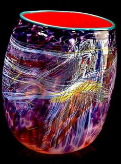Dale Chihuly Talens Red Soft Cylinder With Teal Lip Wrap