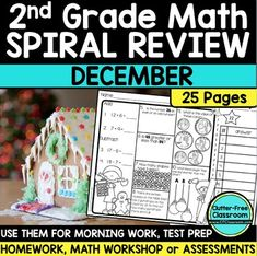 Second Grade Math Homework or 2nd Grade Morning Work for DECEMBER - These second grade math spiral review daily pages will make it EASY for you to help your students master all grade level math skills. They are great for homework, morning work, RTI, math stations, small group math lessons, assessments, and more! Click through to see the many topics covered and how these can be a GREAT asset to your classroom! $