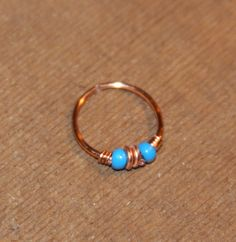 Small Nose Ring, Copper Beaded Nose Ring, Cartilage Earring, Hoop Earring, Cartilage Hoop, Endless Hoop, Seamless, Piercing Jewelry gifts by BirchBarkDesign on Etsy