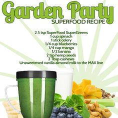 Garden Party SuperFoods Recipe with celery, blueberries, mango, banana and more! Smoothie Popsicles, Juice Smoothie, Superfood Recipes, Nutribullet Recipes, Healthy Smoothies, Healthy Drinks, Healthy Eating, Celery Recipes, Juicing For Health
