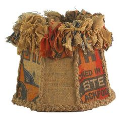 Recycled Burlap Sack Drum Shade- Neat for a farm themed kids room Funky Lamps, Burlap Projects, Craft Projects, Lighting Sale, Lighting Ideas, Burlap Sacks, I Saw The Light, Lampshades, Lampshade Ideas